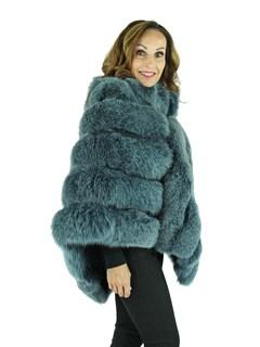 Woman's Blue Dyed Fox Fur Poncho