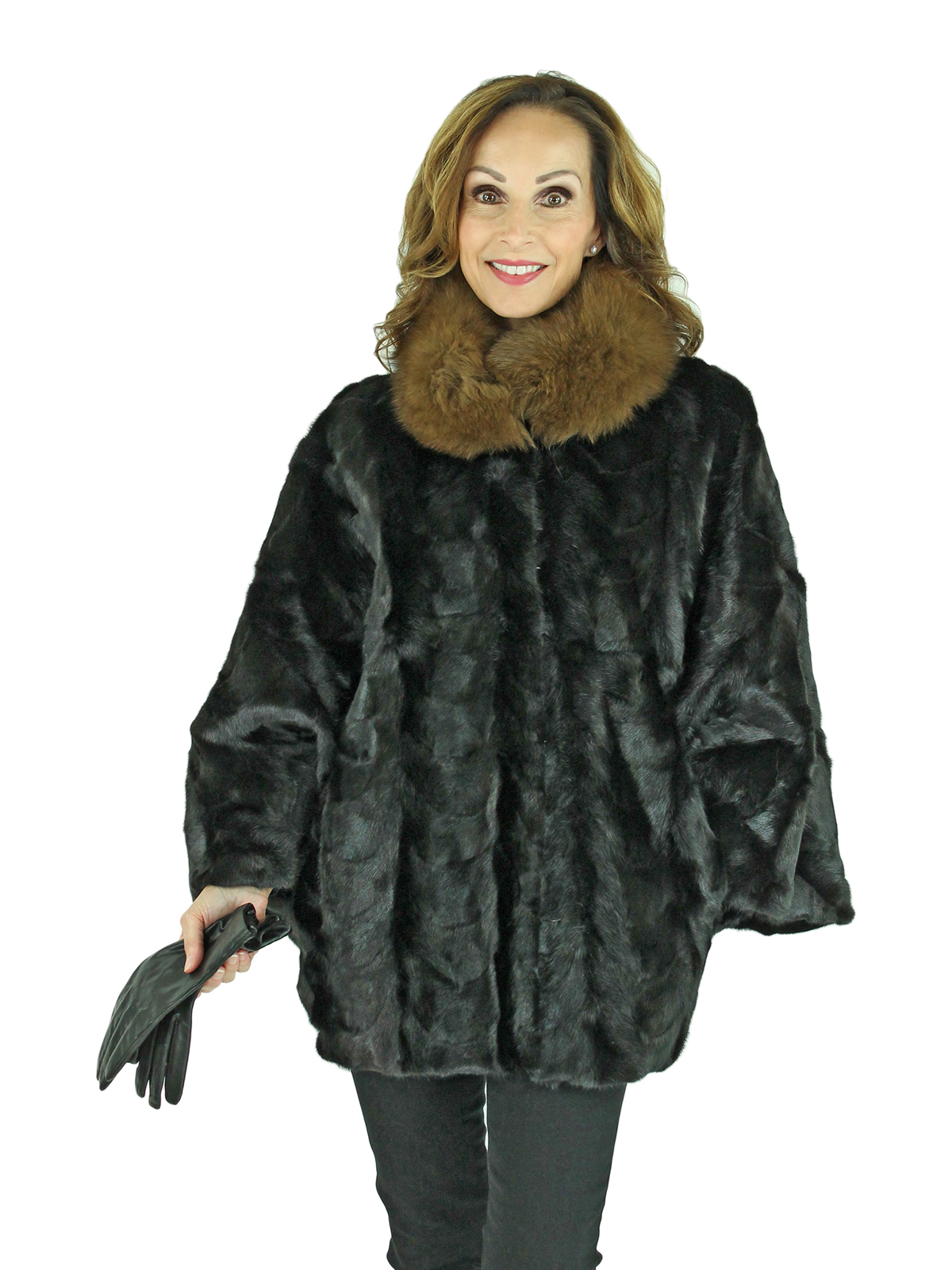 Woman's Black Mink Fur Cape with Sable Dyed Fox Collar