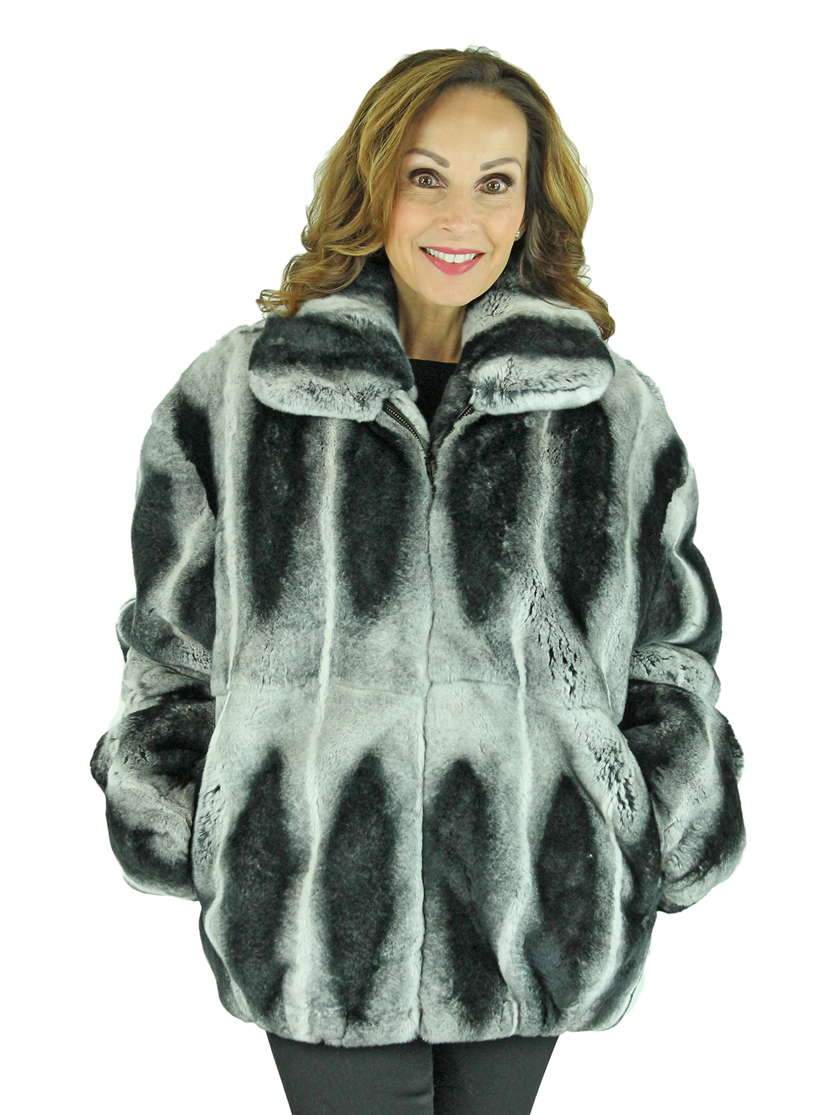 Woman's Chinchilla Dyed Rex Rabbit Fur Jacket