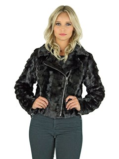 Woman's Black Mink Section Fur Motor Jacket with Crystal Fox Collar