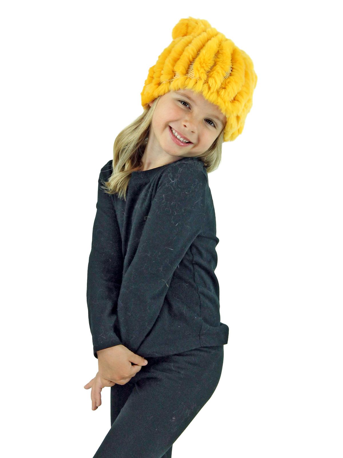 Kid's Yellow Knitted Rex Rabbit Fur Hat