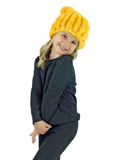 Kid's Yellow Knitted Rex Rabbit Fur Hat