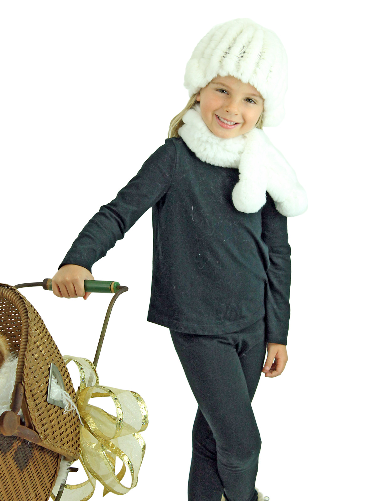 Kid's White Knitted Rex Rabbit Fur Hat and Scarf Set