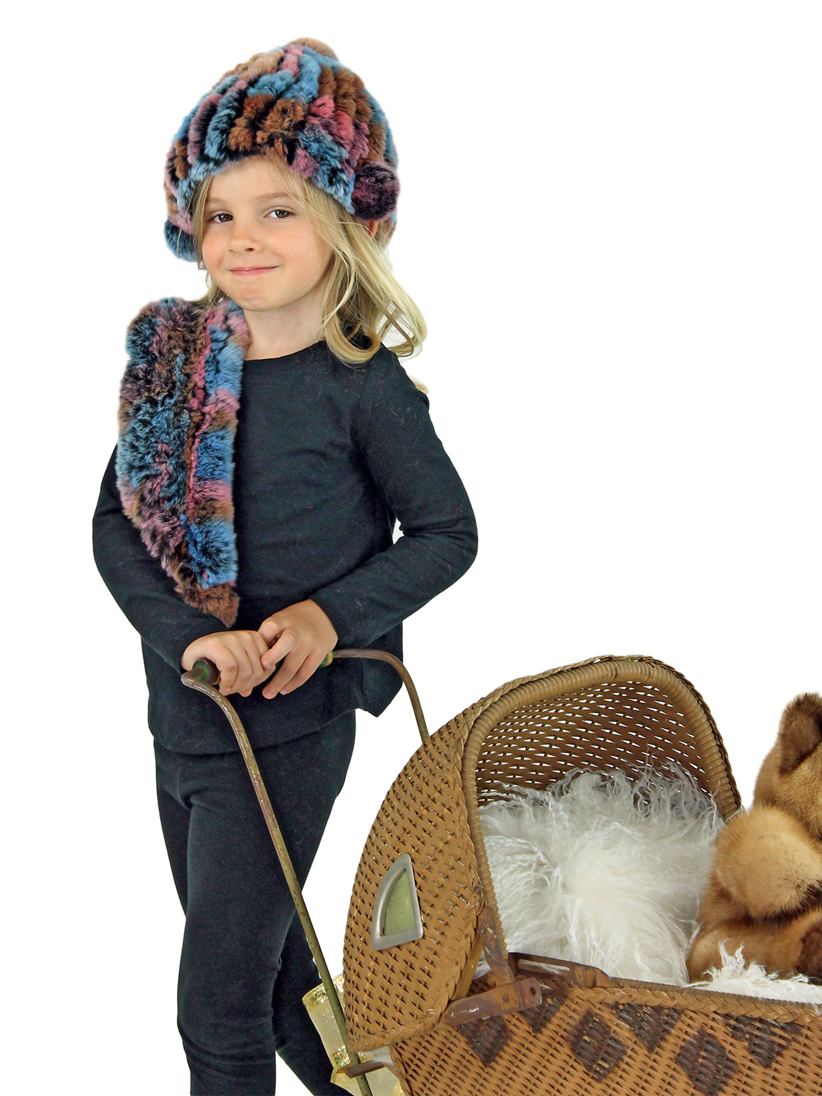 Kid's Multicolor Knitted Rex Rabbit Fur Hat and Scarf Set
