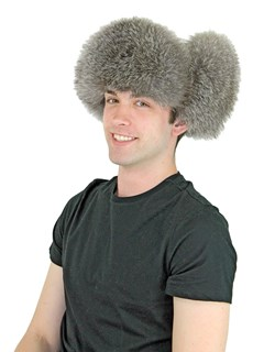 Unisex Natural Blue Fox Fur Trooper Hat