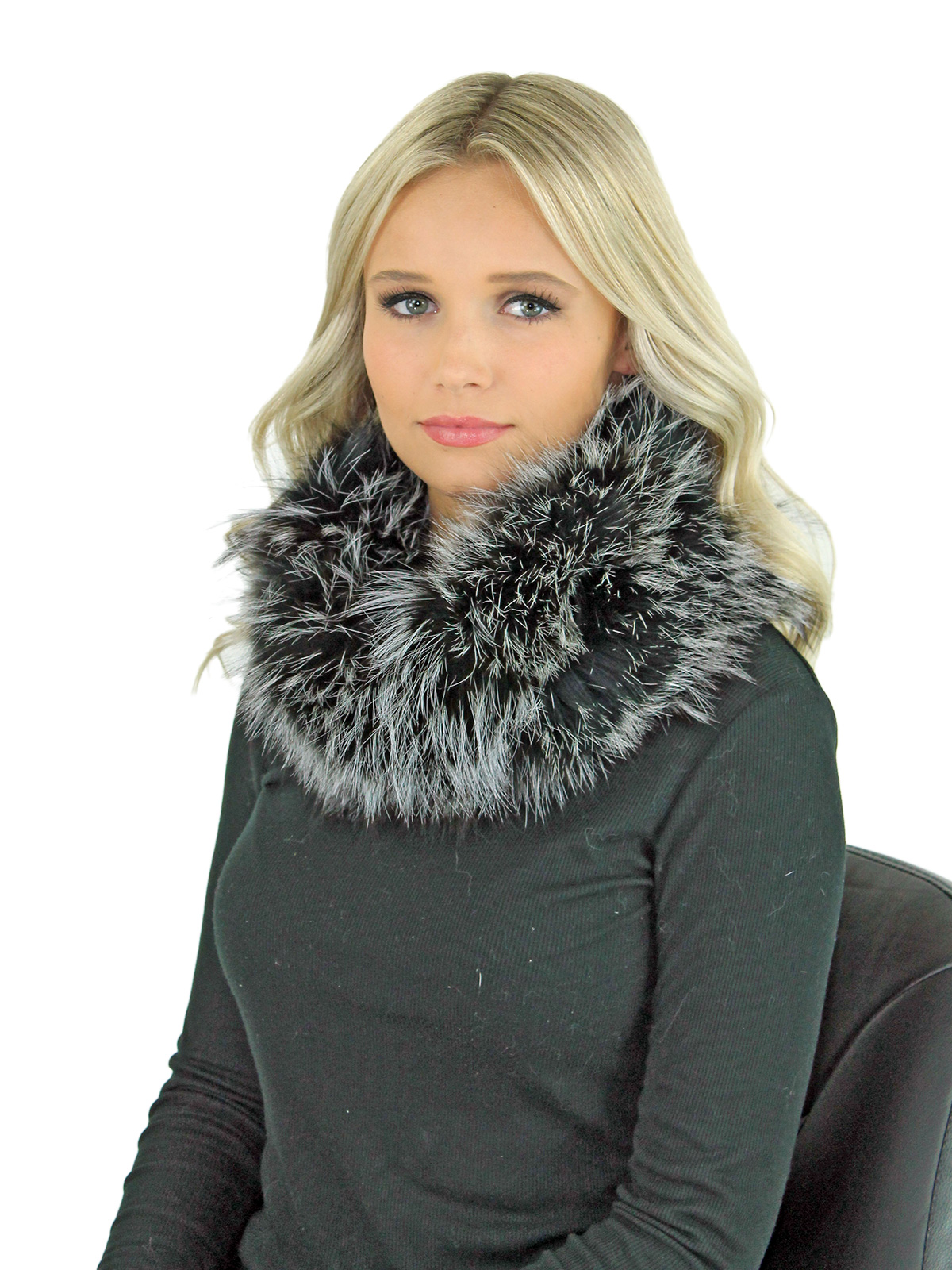Women's Natural Silver Fox Fur Cowl Neck Scarf