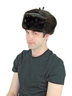 Man's Brown Mink Fur Trooper Hat with Leather Crown