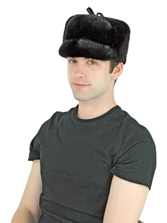 Man's Black Mink Fur Stationary Flap Trooper Hat