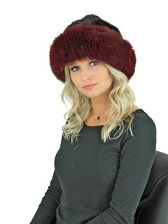 Woman's Burgundy Mink Fur Hat with Matching Fox Halo