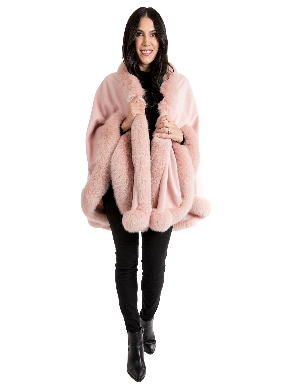 Gorski Woman's Light Pink Cashmere Wool Cape with Dyed to Match Fox Trim