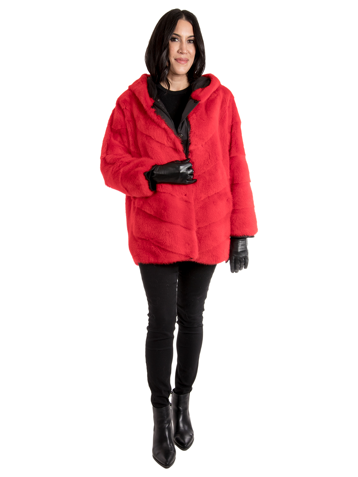 Women's Red Mink Fur Parka Reversible to Black Rain Fabric