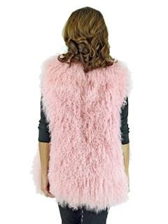 Woman's Pink Tibetan Lamb Fur Vest