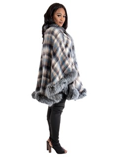 Women's Blue Plaid Wool Cape with Dyed to match Silver Fox Trim