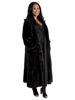 Women's Black Sheared Mink Fur Coat Reversible to Black Taffeta