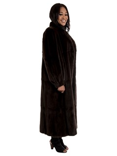 Women's Brown Sheared Mink Fur Coat Reversible to Taffeta