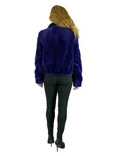 Woman's Purple Sheared Mink Fur Jacket Reversible to Rain Fabric