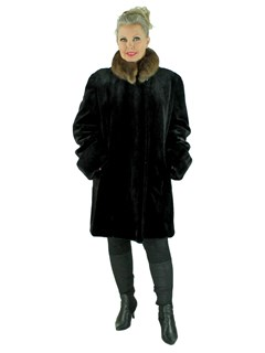 Woman's Black Sheared Mink Fur 7/8 Coat with Natural Sable Collar