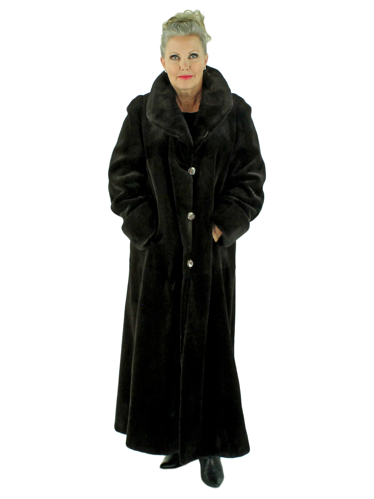 Woman's Brown Sheared Mink Fur Coat Reversible to Rain Fabric