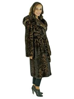 Woman's Scanglow Mink Fur 7/8 Coat with Stenciled Zebra Print