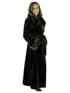 Woman's Brown Sheared Mink Fur Coat with Chinchilla Collar and Cuffs