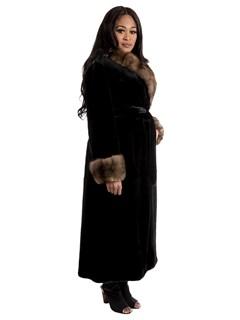 Women's Semi Sheared Ranch Mink Fur Coat with Sable Collar & Cuffs