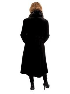 Woman's New Black Sheared Mink Fur 7/8 Coat with Belt
