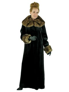 Woman's Black Sheared Mink Fur Coat with Sable Collar and Cuffs