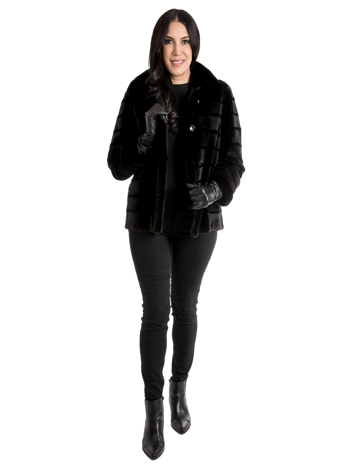 Women's Black Sheared Mink Fur Jacket