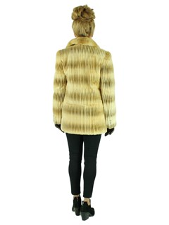 Woman's Two Tone Gold Grooved Sheared Mink Fur Jacket