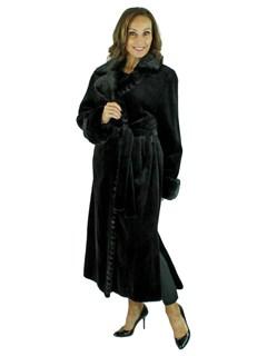Woman's Black Sheared Mink Fur Coat