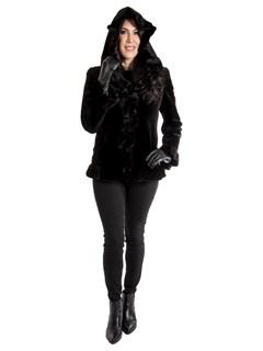 Women's Black Sheared Mink Fur Jacket