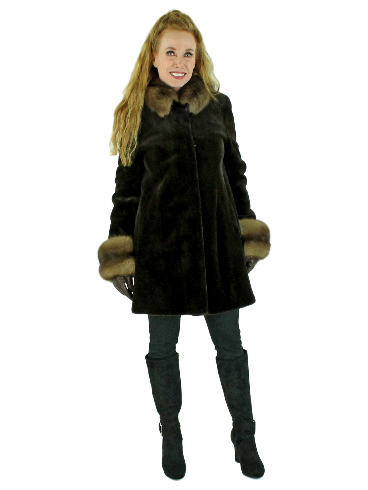 Woman's Dark Brown Sheared Mink Fur Stroller with Russian Sable Trim