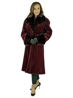 Woman's Burgundy Sheared Mink Fur 7/8 Coat with Dyed To Match Chinchilla Trim
