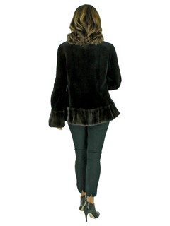 Woman's Dark Brown Sheared Mink Fur Jacket