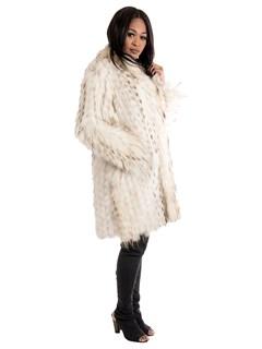 Women's Beige Finnish Raccoon Reversible Fur Stroller