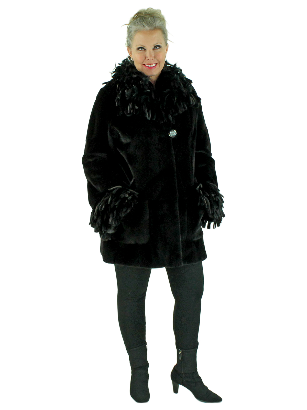 Woman's Black Sheared Mink Fur Stroller