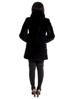 Women's Black Fuchsia Sheared Mink Fur Stroller with Fox Tuxedo Reversible to Rain Taffeta