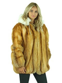 Woman's Natural Red Fox Fur Parka