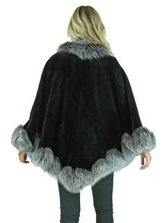 Woman's Black Sheared Mink Fur Cape with Silver Fox Trim