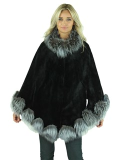 Woman's Black Sheared Mink Fur Cape with Silver Fox Trim