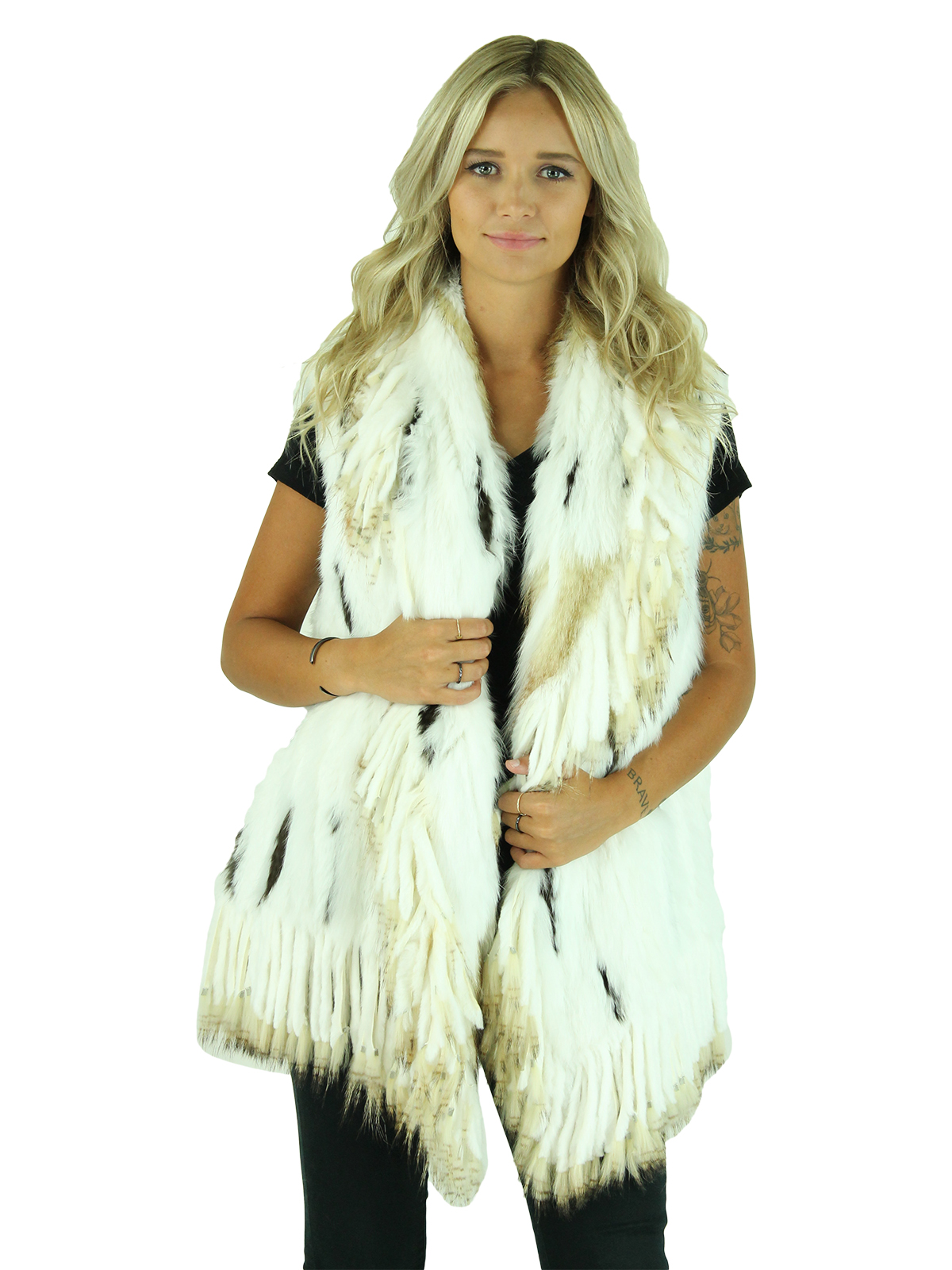 Woman's White Multi-Fur Knitted Vest