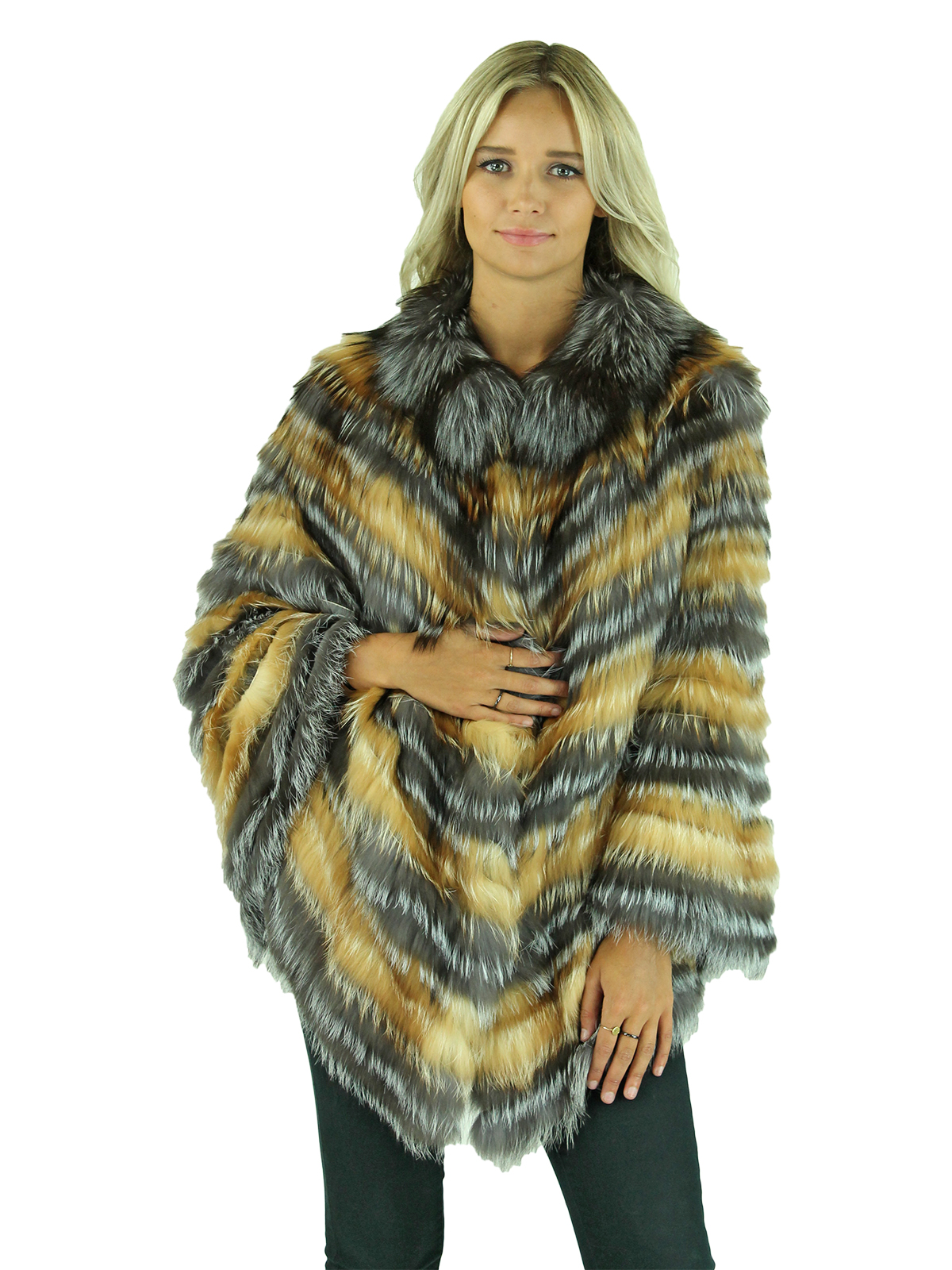 Woman's Silver and Gold Red Fox Fur Cape