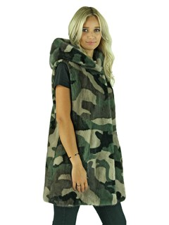 Woman's Camoflage Mink Fur Vest with Hood