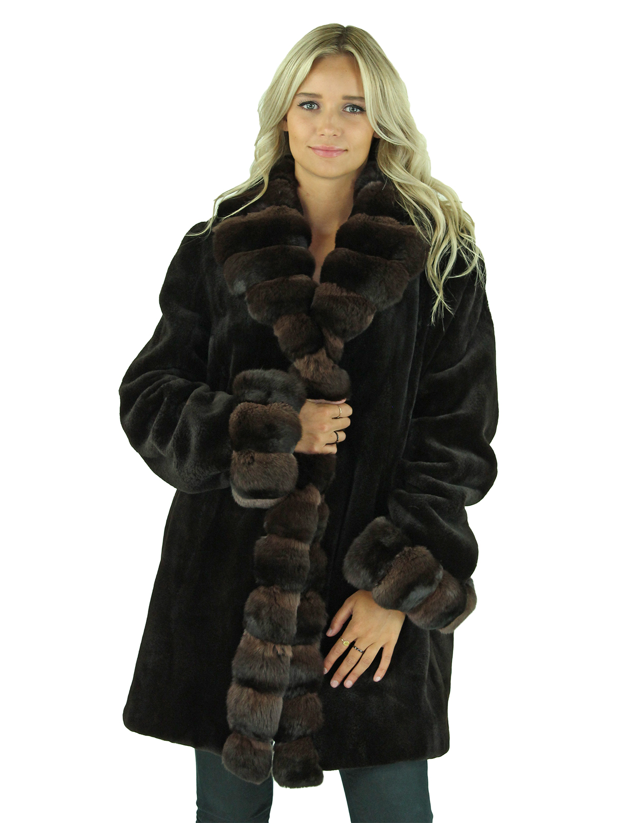 Woman's Brown Sheared Mink Fur Stroller with Chinchilla Trim