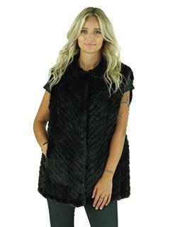 Woman's Black Knitted Mink Fur Vest