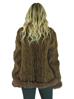 Woman's Brown Knitted Mink Fur Jacket