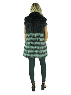 Woman's Black and Grey Finn Raccoon Fur Vest