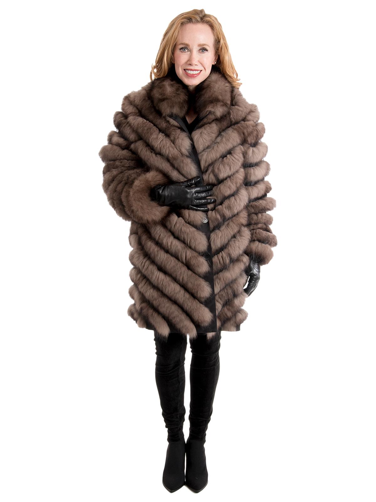 Women's Sable Dyed Fox Fur Reversible Stroller