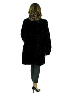 Woman's Black Rex Rabbit Fur Stroller