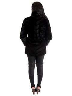 Women's Black Sheared Mink Fur Stroller Reversible to Taffeta